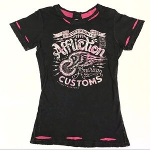 Affliction American Customs Black Pink Tee Size L